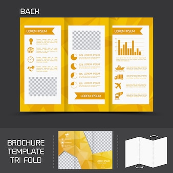 Yellow logistics paper brochure leaflet tri-fold design back template vector illustration