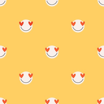 Yellow love faces seamless pattern