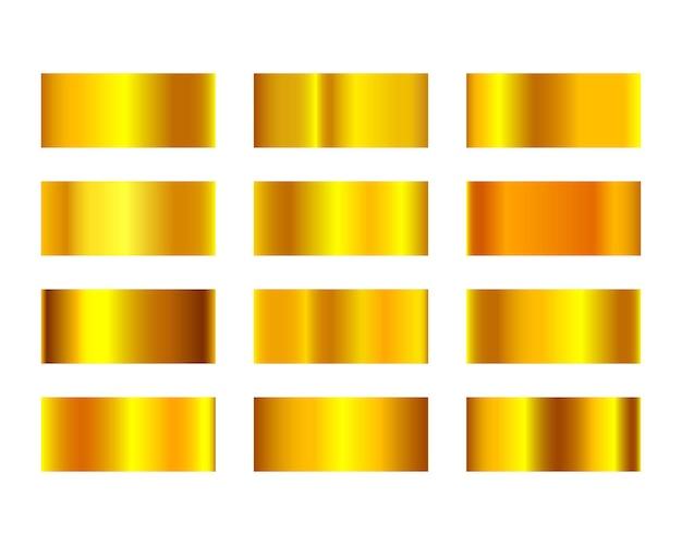黄色の豪華な金色のグラデーションセット。