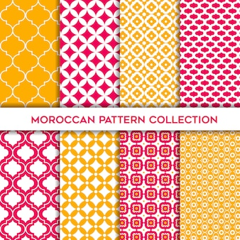 Yellow and magenta set of moroccan geometric seamless patterns