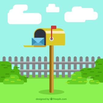 Желтый фон почтовый ящик с конвертом в плоской конструкции