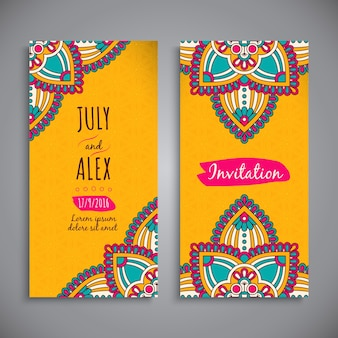 Yellow mandala style wedding invitation