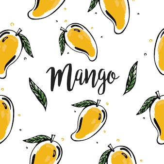 Yellow mango background in sketch style.