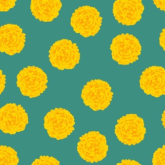 Yellow marigold on green background