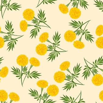 Yellow marigold seamless on beige ivory background