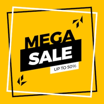 Yellow mega sale banner template design