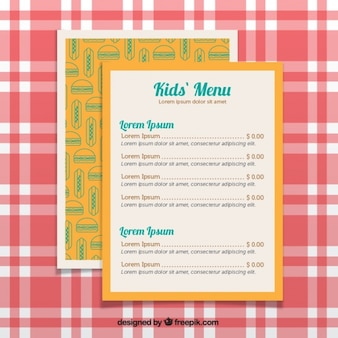 Yellow menu for kids with decorative burgers