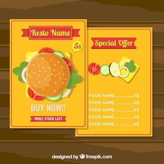美味しいハンバーガー付き黄色のメニューテンプレート