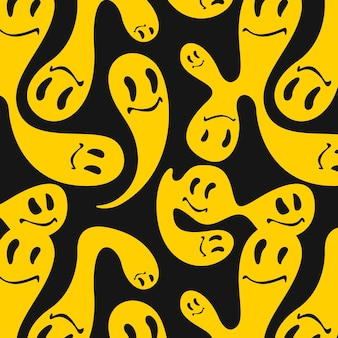 Yellow merged and distorted emoticon pattern template