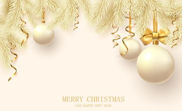 Желтый плакат с рождеством и новым 2022 годом с еловыми ветками, елочные шары и конфетти