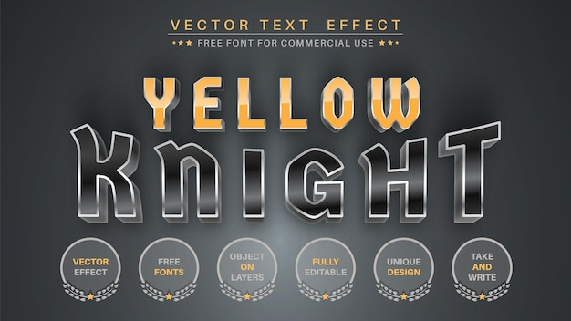 노란색 금속-편집 가능한 텍스트 효과, 글꼴 스타일.