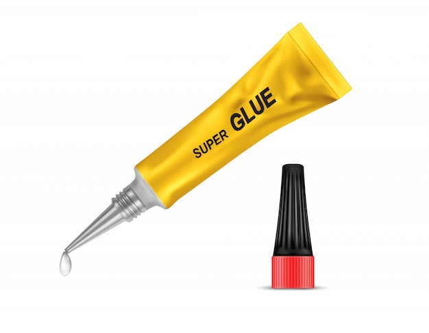 Yellow metal tube of super glue, with open black lid and with liquid drop at a tip