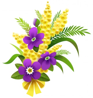Yellow mimosa and violet flower bouquet