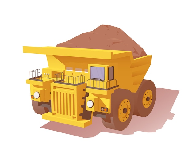 Yellow mine dumper truck loaded with ore or dirt
