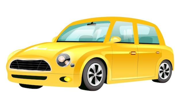노란색 미니 쿠퍼 만화 그림. 구식 개인 차량 평면 색상 개체입니다. 빈티지 교통 흰색 배경에 고립입니다. 빈 복고풍 자동차 각도보기