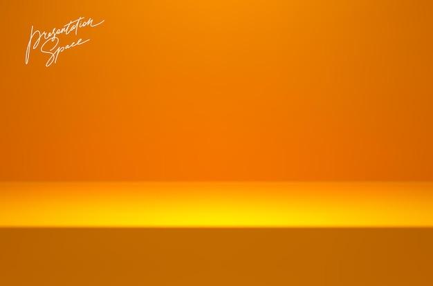 製品プレゼンテーション用の黄色のモックアップステージスタジオルーム表彰台ステージのある最小限のシーン