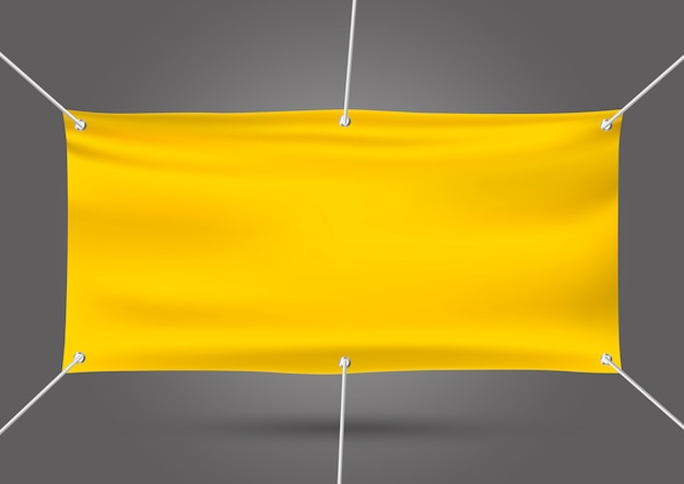 Yellow mock up vinyl banner on gray
