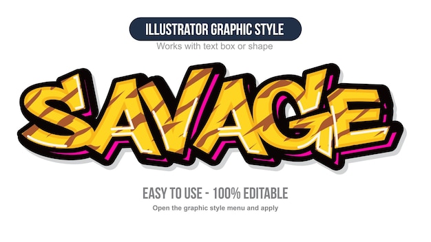 Yellow modern animal print graffiti text effect