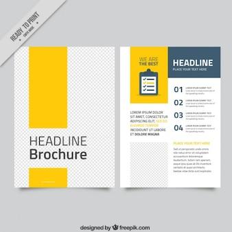 Yellow modern business brochure Free Vector