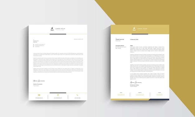 Yellow modern business letterhead design template