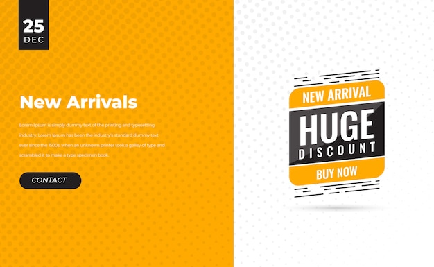 Yellow modern flash sale discount banner template promotion with all new arrival discount price label tag