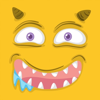 Yellow monster facial expression