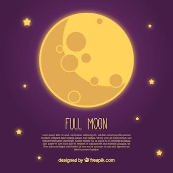 星と黄色の月の背景