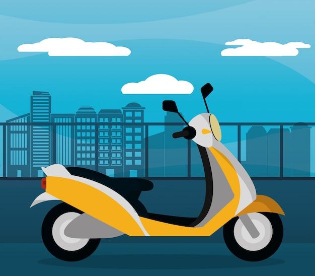 黄色のオートバイスクーター都市日没