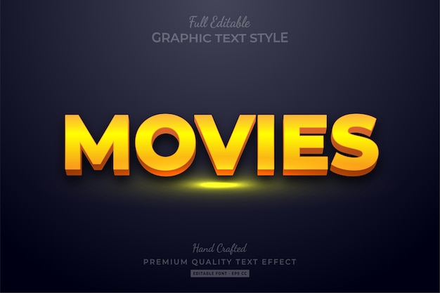 Yellow movies editable text style effect