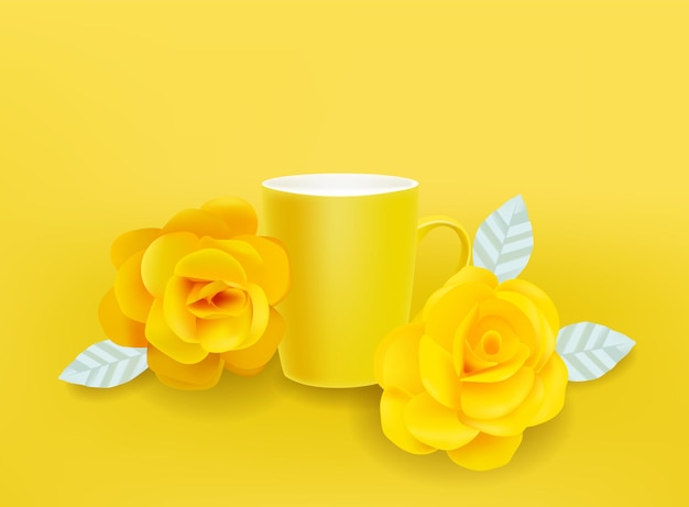 黄色いマグカップと花のベクトルが現実的です。夏の装飾はイラストを設定します