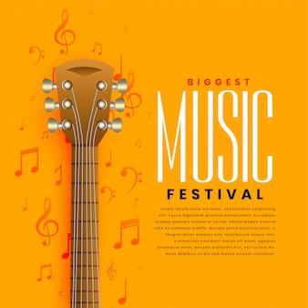 Fondo giallo dell'aletta di filatoio del manifesto della chitarra di musica