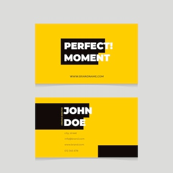Yellow neon business cards