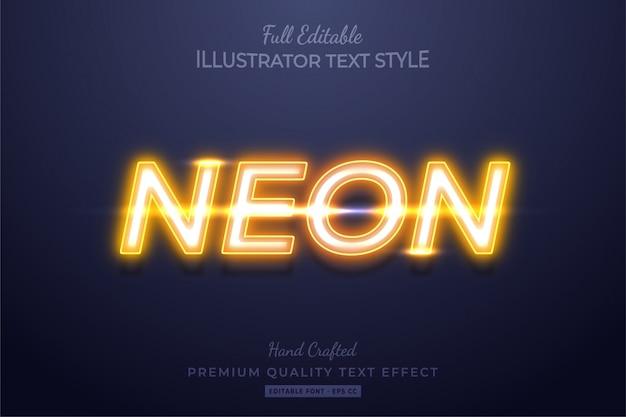 Желтый неоновый эффект редактируемого стиля текста премиум