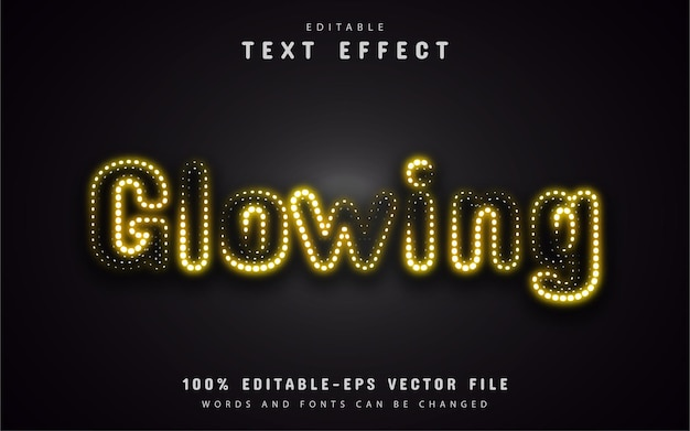 Yellow neon glowing text effect