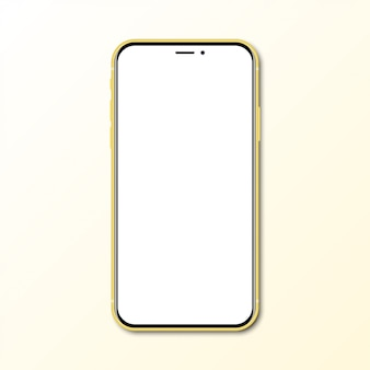 Yellow new smartphone with blank screen with shadow
