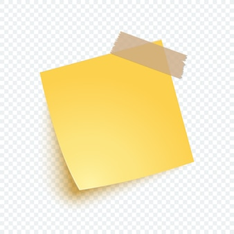 Yellow note paper in realistic style. blank sticker note for reminding, list, info.