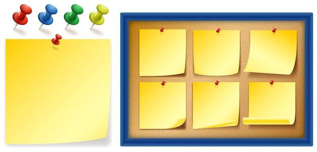 보드에 노란색 notepads