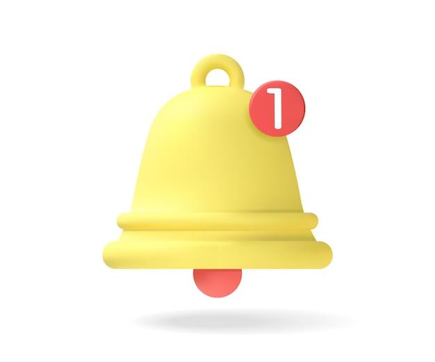 Yellow notification bell, an alert has arrived. one new notification concept. notification. vector graphics.
