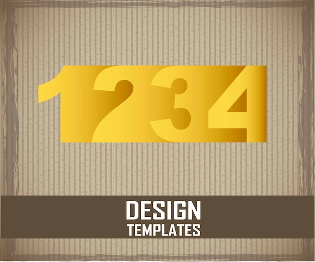 Yellow numbers over cardboard background vector illustration