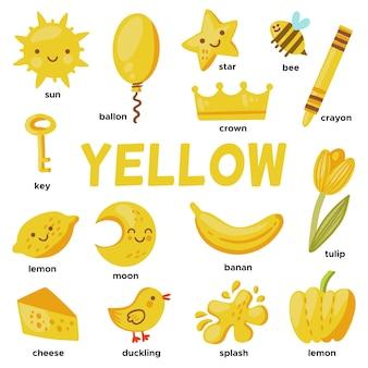 Oggetti gialli e parole del vocabolario