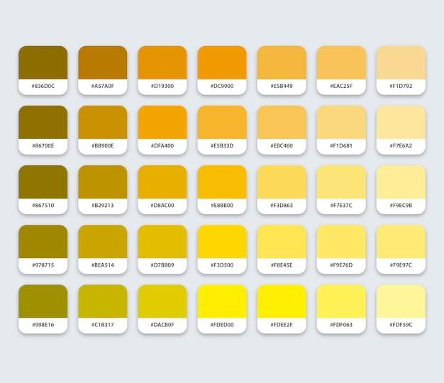 六角形の黄色い黄土色のカラーパレット