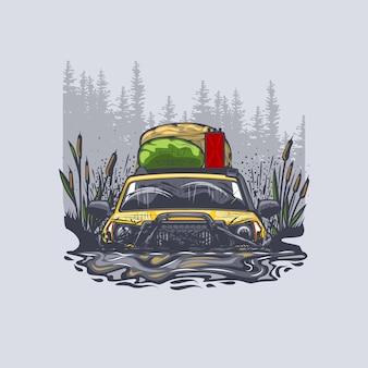 黄色いオフロード車が屋根に荷物を抱えて沼に引っかかった