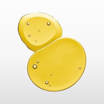 黄色の油液体泡マクロベクトル化粧品