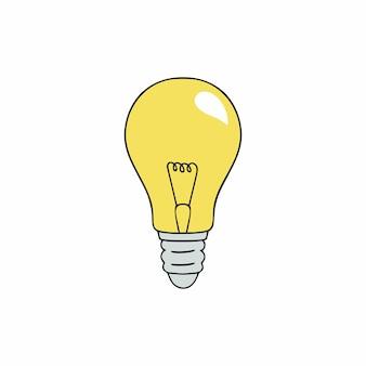 黄色の昔ながらの白熱電球。消費電力と省エネのトピックのベクトルアイコン。 doodleスタイルのランプ。