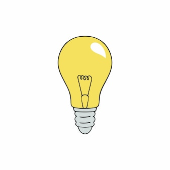 Yellow old-fashioned incandescent light bulb. vector icon on the topic of power consumption and energy saving. lamp in the style of doodle.
