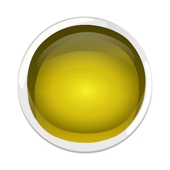 Yellow olive oil in bowl in cartoon style.
