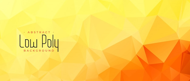 Yellow orange color low poly abstract banner design
