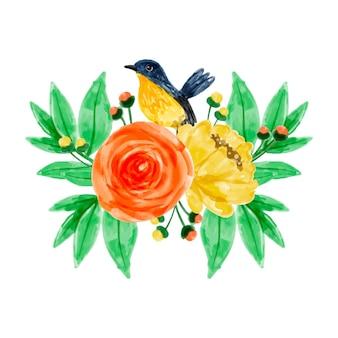 Желто-оранжевая цветочная композиция с акварелью