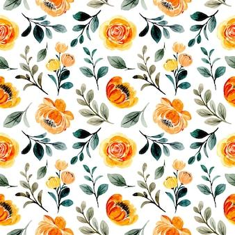 Yellow orange floral watercolor seamless pattern