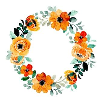 수채화와 노란색 오렌지 꽃 화 환